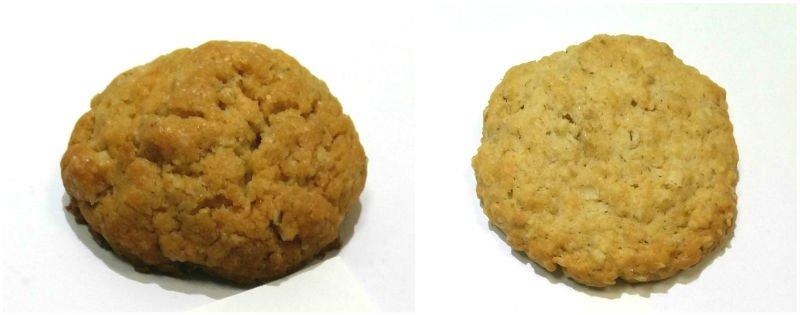 сравнение овсяного печенья на подсолнечном масле и овсяного печенья на подсолнечном и сливочном масле