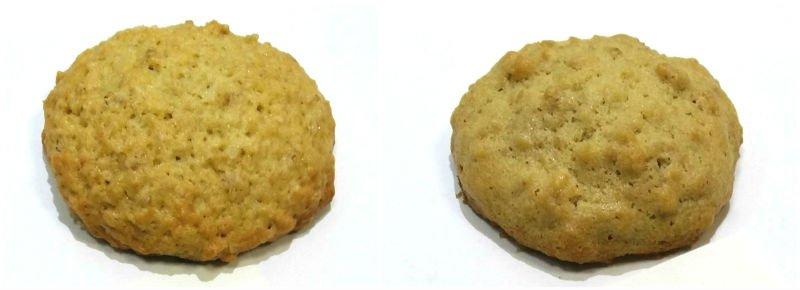 сравнение овсяного печенья на сахаре и на сиропе