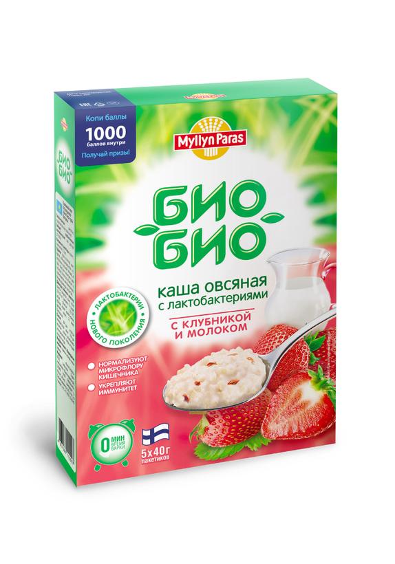 """Каша овсяная """"Био-Био"""" с клубникой и молоком"""