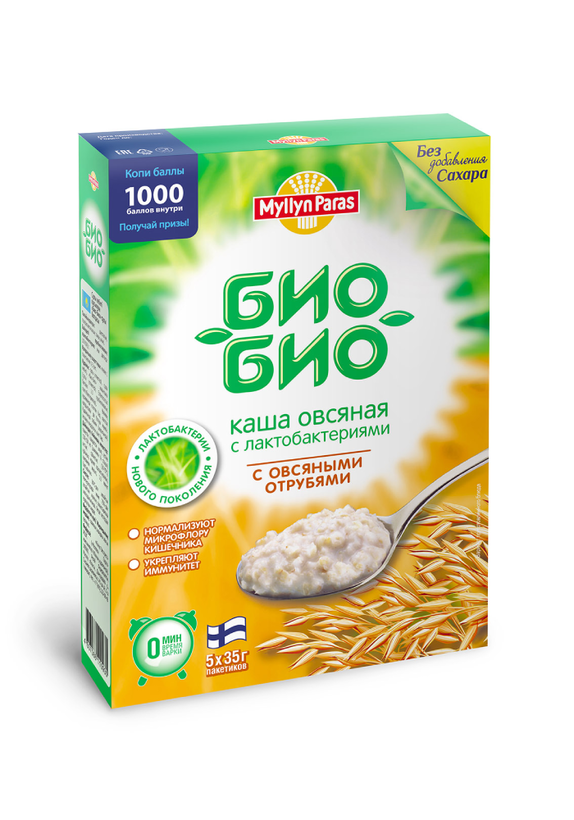 """Овсяная каша """"Био-Био"""" с отрубями (без сахара)"""