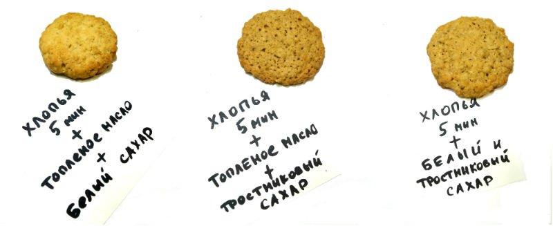 сравнение овсяного печенья на белом и тростниковм сахаре
